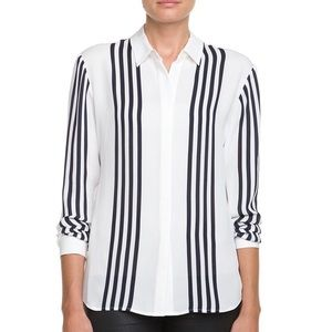 Theory | Aquilina B Silk Navy White Stripe Blouse